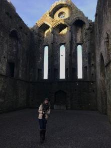 Sarah at the Rock of Cashel